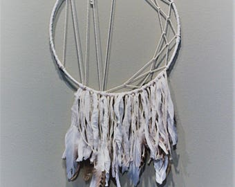 """Offset Dream Catcher with Silk, Feathers, and Crystal 12"""""""