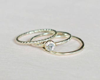 Stacking ring set, stackable rings, sterling silver rings, twist ring, diamond CZ ring, textured ring, smooth ring, set of 3 thin rings