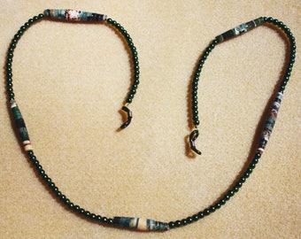 Beaded Lanyard Holder for Eyeglasses (Dark Green)