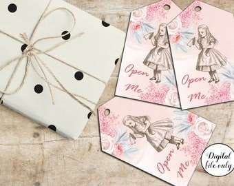 Digital Alice in Wonderland Open Me Tags, Hang Tags, Printable, Craft, Collage Sheet,Hang Tags,Gift Tags