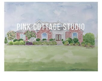 House painting, Painting of house, Custom home watercolor, Custom house watercolor portrait