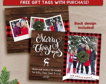 Rustic Christmas card, Holiday Christmas card, Printable Christmas card