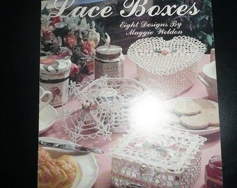 Vintage Leisure Arts Crocheted Lace Boxes, Crocheted Thread Fancies Pattern Leaflets