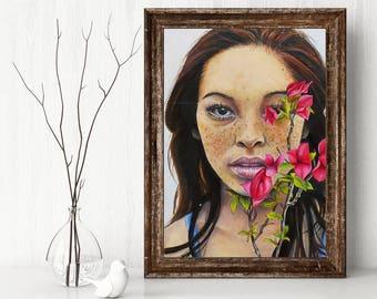 Freckles Portrait - Art Print