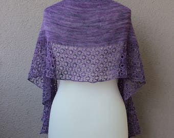 purple handknit shawl made with soft merino wool in crescent shape, lavender wedding shawl, summer lace shawl