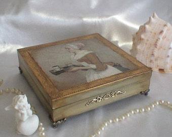 Chocolate girl Jewerly box for women Vintage Jewerly storage Treasure box Housewares Trinket box Wooden box Gift for women Birthday gift