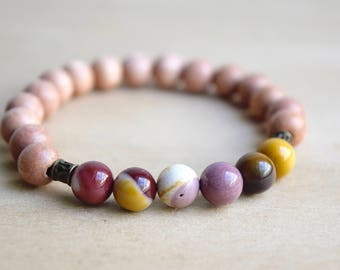 Mookaite Bracelet / Unique Gift Idea / Yoga Bracelet / Meditation Bracelet / Genuine Gemstone Bracelet / Boho Bracelet / Gift for Her