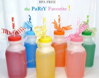 MILK BOTTLE Plastic set of 10 Plastic BPA Free - ReTrO School Cafeteria MiLk/ Juice BoTTle- 12oz Birthday, farm, Cookies & Milk, party Favor