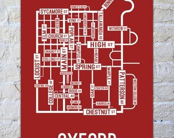 Oxford, Ohio Street Map Print - College Town Maps