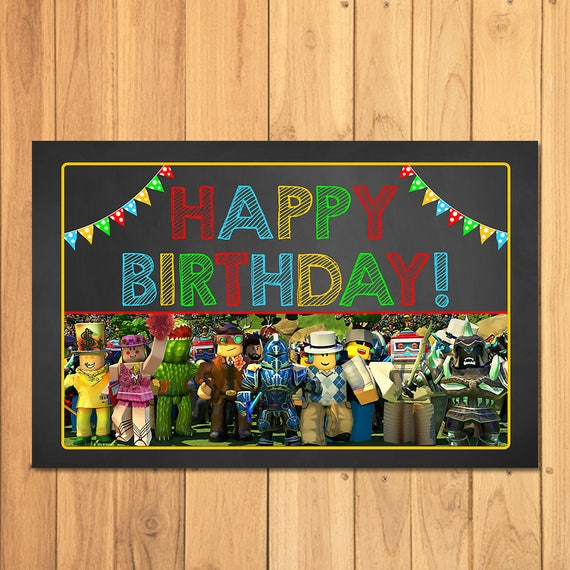 Roblox Placemat Chalkboard - Roblox Happy Birthday Party Place Setting - Roblox Party Printables - Roblox Party Favors - Roblox Video Game