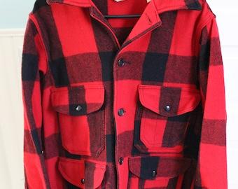 Vintage Woolrich Wool Buffalo plaid red black winter jacket coact sz 40 Medium hunting jacket