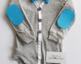 Grey Cardigan Onesie with Elbow patches and Bowtie set