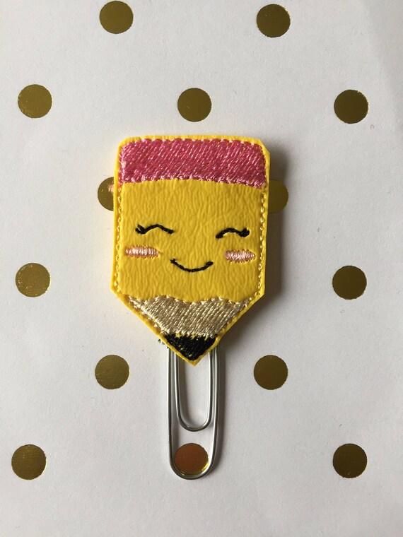 Kawaii Pencil planner Clip/Planner Clip/Bookmark. Pencil Planner Clip. School Planner clip. Pencil paper clip. Kawaii planner clip