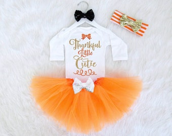 Thankful Little Cutie Thanksgiving Baby Girl Outfit. Babys First Thanksgiving Outfit. Baby Girl Thanksgiving Bodysuit. Thanksgiving Headband