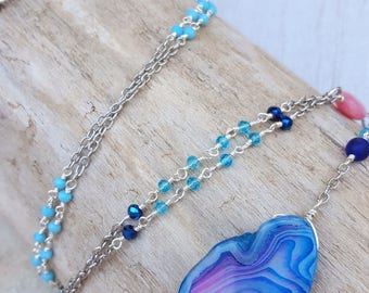 Mermaid Soul Long Statement Necklace - Coastal Jewelry - Mermaid Necklace - Mermaid Jewelry - Boho Beach - Beach Jewelry - Blue Agate-OOAK