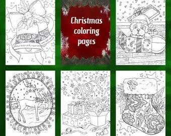 Adult coloring,#1 Christmas coloring pages, 5 page pdf,printable , coloring download Nashana Webb