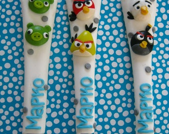 Angry Birds,Cutlery Sets,Home,Birthday gift,Personalized gift for kids,Slingshot & Piggies,Name,Gift for Kids,Cake Spoon,Tea Spoon,for Boy
