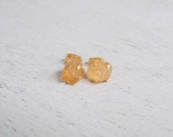 Citrine Earrings, Citrine Stud Earrings, Gold Stud Earrings, Gemstone Stud Earrings, Raw Stone Post Earrings, Everyday Studs, Gift, Y3-24