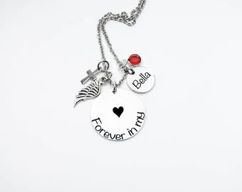 Memorial, Memorial Necklace - Forever In My Heart - Memorial Jewelry -Loss - Sympathy Gift