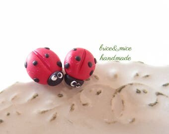 Ladybird earrings, Ceramic ladybug earrings, Fimo ladybird, Luck Ladybug, lobe earrings, small earrings