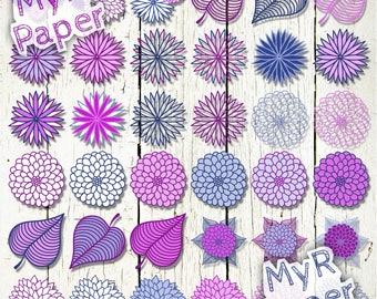 """36 PNG Floral Clip art: """"Blue & Purple Dahlias"""" dahlia flower Clip Arts - for scrapbooking, cards, invitations - Transparent background"""