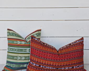 Guatemalan Red Ikat Pillow. Available in 16x16, 18x18, 20x20, 16x26