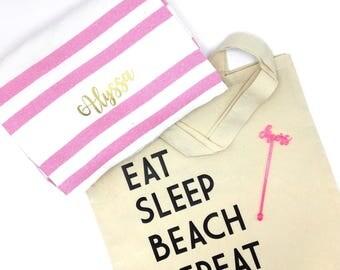 Custom Bachelorette Tote // Eat Sleep Beach Repeat