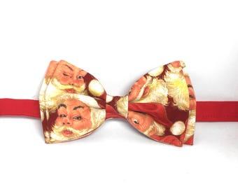 Santa Bow Tie, Holiday Bow Tie, Christmas Bow Tie, Xmas Bow Tie,Mens Bow Tie,Boys Bow Tie,Father Son Bow Tie,Toddler Bow Tie,Clip-on Bow Tie