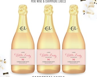 Girl Baby Shower Favors, Little Lady Baby Shower Mini Champagne Labels, Baby Sprinkle, About to Pop Decor, Little Princess Baby Shower Decor