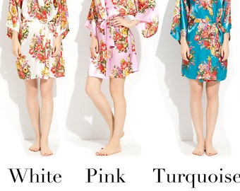 Floral Robe, Floral Satin Robe, Wedding Party Robes, Satin Robes, Robes, Satin, Ladies Gift, Bride Robe, Satin Kimono, Kimono Robes