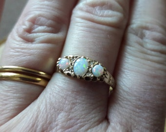 9ct Opal and Diamond Ring, Vintage