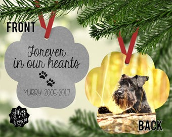 Pet Memorial Ornament, Pet Memorial, Ornament, Pet Christmas Ornament, Personalized Memorial Ornament, Forever in Our Hearts, Dog Ornament