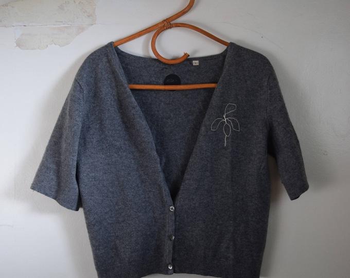 Lydia Grey Cashmere Short Sleeve  Button Up Cardigan