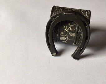 "antique victorian horseshoe napkin ring monogrammed ""Will"", engraved vintage good luck napkin ring, ornate floral design, tarnished patina"