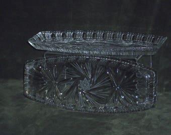 Vintage Pair of Pinwheel Crystal Trays Rimmed Edge Crystal Trays Crystal Dresser Trays Oblong Crystal Trays Pinwheel Crystal Collection Gift
