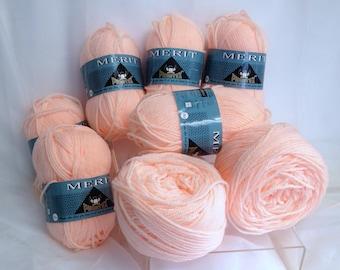 Vintage Phentex Yarn Soft Phentex Merit Yarn Bundle, Acrylic Worsted Courtelle Yarn Made in Canada Apricot Orange Yarn for Knitting & Crafts