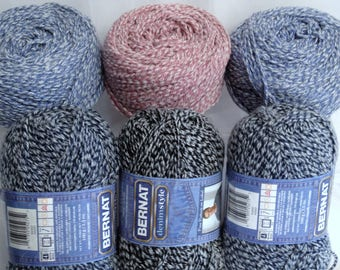Bernat Denim Yarn Large Skeins of Denim Style Tweed Yarn Vintage Tweed Blues Black Pink Yarn Cotton Blend Yarn for Fiber Artist Blue Jeans