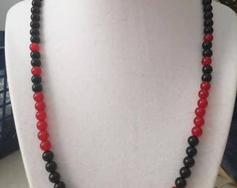 Genuine Red Jade and Black Onyx Necklace.
