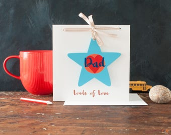 Dad star birthday card, wooden star tied to a card, personalised card, gift and card in one, hand painted, brush lettering, father's day