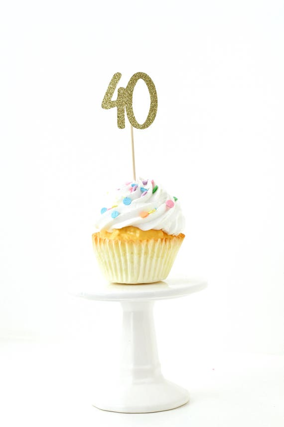 Number 40 Gold Glitter Cupcake Toppers, Number 40 Toothpicks, Gold Party Decor, Food Decoration, Fortieth, 40th Birthday Forty Over The Hill
