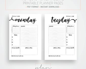 Printable 2018 inserts, A5 Daily planner, 2018 daily inserts, Instant download