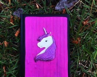 Unicorn journal, blank book, unicorn, polymer clay journal, unicorn diary, lined journal, lined notebook, custom journal, custom notebook