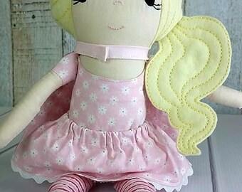 Super Girl Dress Up Doll, Blonde Hair, Super Hero Cape, Mask - Cloth Rag Doll, Wool Felt Hair, Birthday Gift, Christmas Gift, Pink Doll