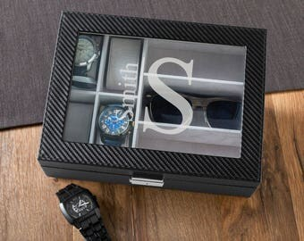 Monogrammed Watch and Sunglasses Box, Personalized Watch Box, Watch Box with Sunglasses Holder, Engraved Watch & Sunglasses box