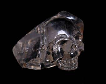 Natural Smoky Quartz Crystal Carved Skeleton,Healing Skull ,Pretty surprising Crystal Skull J949
