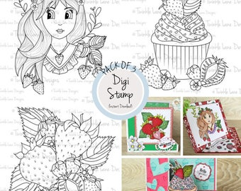 Set of 3 Stamps, Strawberry Collection, Digi Stamp Pack, Cupcake, Strawberries, Girl Digi Stamp, Summer Fruits, Adult Colouring Page, Crafts
