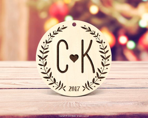 initials Christmas Ornament Engagement Ornament Personalized Wedding Ornament Engaged Christmas Ornament Engaged Monogram Christmas 61