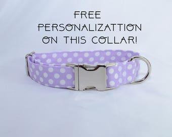 "Lavender polka dots, adjustable dog collar, Metal buckle, medium, 1"", Dog Collar, FREE PERSONALIZATION"