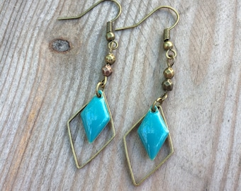 Earrings bronze and turquoise enameled