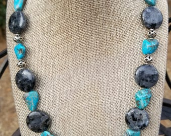 Turquoise, Labradorite and Sterling Silver Necklace, Turquoise, Labradorite, Gemstone Necklace, Sterling Silver, Southwestern Jewelry